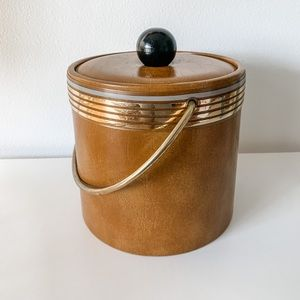 Vintage leather ice bucket with gold accents